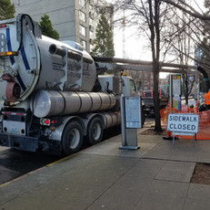 Parking lot cleaning tanker truck