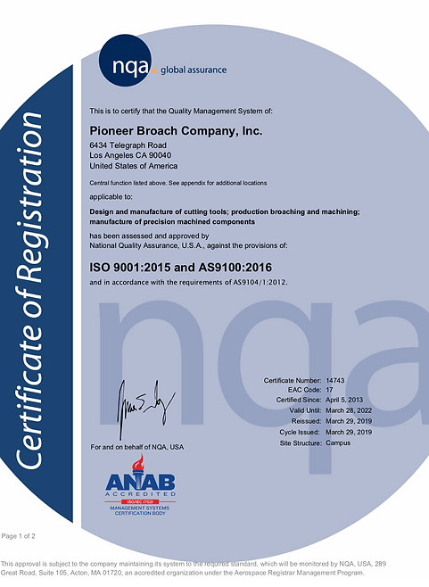 pioneer broach company cert of registration