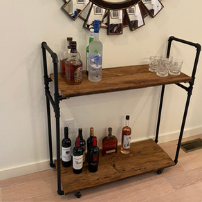 Mushroom Wood Bar Cart