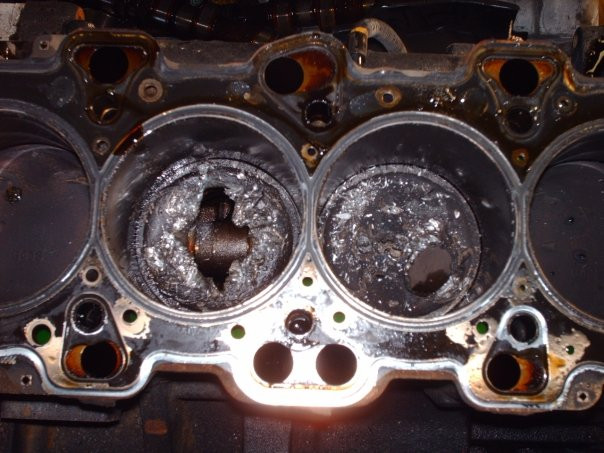 "Here is what happens when a timing belt breaks on an ""Interference Engine"""