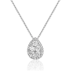 PEAR SHAPED HALO PENDANT NECKLACE