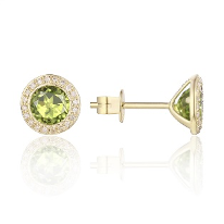 14K YELLOW GOLD DIAMOND HALO STUD EARRING