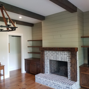 Reclaimed Timber mantle with vertical supports