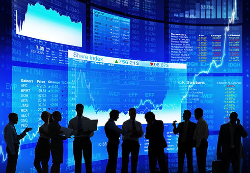 Silhouette of Stock Market Discussion .j