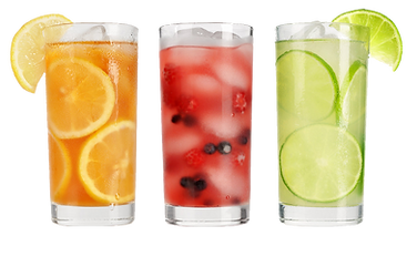 Summer drinks with ice, fresh berries, l