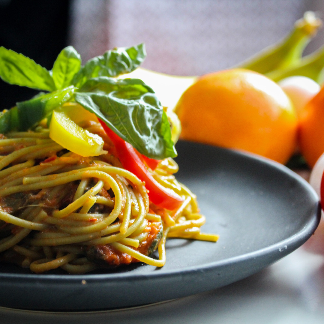 pasta-with-vegetable-dish-on-gray-plate-