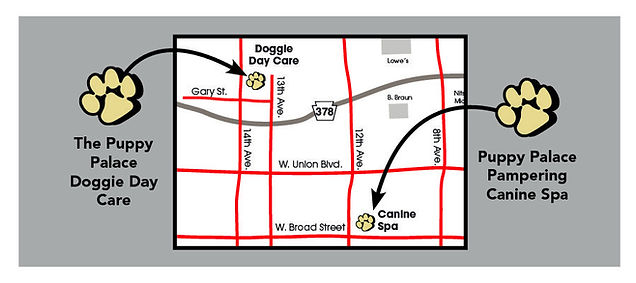 Map to The Puppy Palace Doggie Day Care & Spa in Bethlehem, PA
