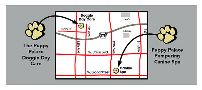 Map to Puppy Palace Doggie Day Care & Spa