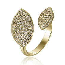 14K YELLOW GOLD DIAMOND OPEN COCKTAIL RING