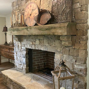 Reclaimed Timber Mantel with a Natural Finish