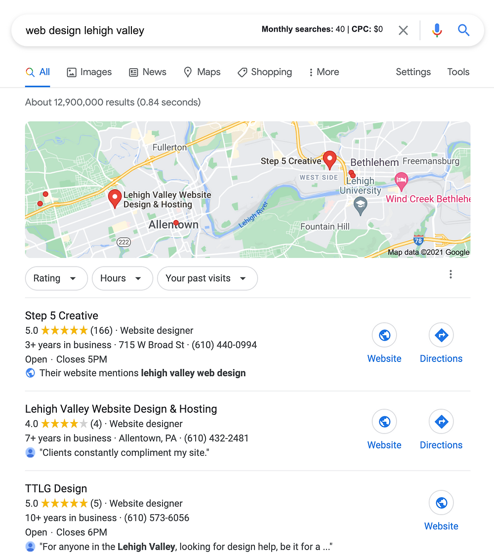 get into google 3 pack