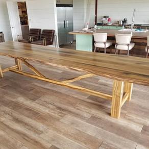 Live edge poplar table with poplar base