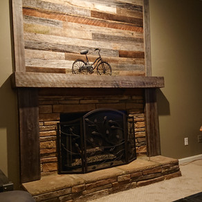 Resawn Reclaimed Barn Wood with Cypress Mantel