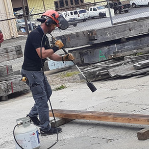"""Prepping a 4""""x8"""" Cypress Timber with Our Shou Sugi Ban Char Technique"""