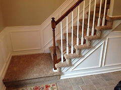 Carpet installed on stairs