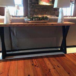 Custom Sofa Table with Reclaimed Wood Top and Custom Welded Metal Base