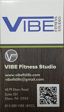 Johnstown PA VIBE Fitness Studio Contact Business Card