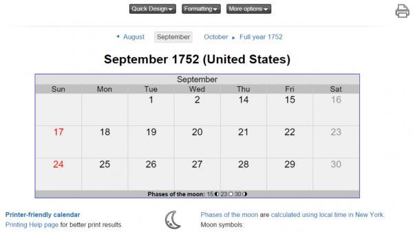 In North America, the month of September 1752 was exceptionally short, skipping 11 days.