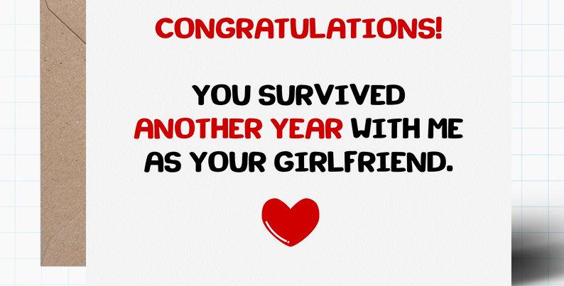 Funny Birthday Card - One Year Together - Husband Boyfriend Wife or Girlfriend