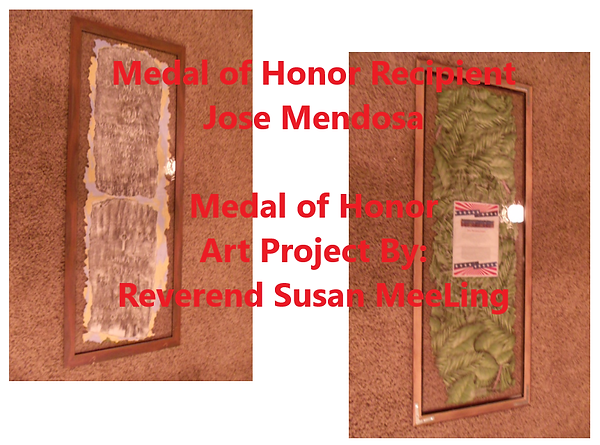 Medal of Honor Art Project By:  Susan MeeLing, Medal of Honor Jose Mendosa, wife Hillaria Mendosa, World War II, WWII, US Army, Artist Reverend Susan MeeLing, Artist Susan MeeLing, Artist Lady Dori Belle