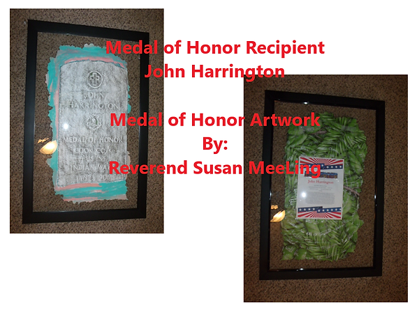 Medal of Honor Art Project By:  Susan MeeLing, Medal of Honor John Harrington, Indian Wars, US Army, Artist Reverend Susan MeeLing, Artist Susan MeeLing, Artist Lady Dori Belle, Texas, prayer
