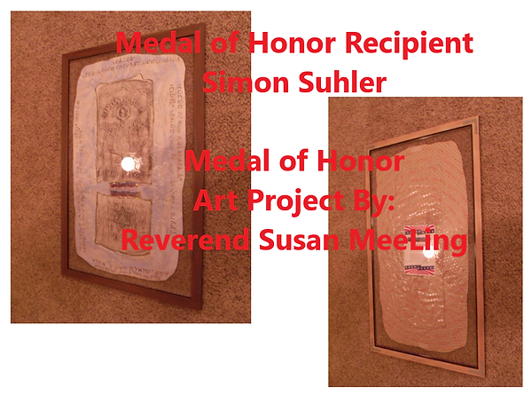 Medal of Honor Art Project By:  Susan MeeLing, Medal of Honor Simon Suhler, Hebrew, Jewish, Hebrew Medal of Honor recipient, Jewish Medal of Honor recipient, US Army, Civil War, Indian Wars, Artist Reverend Susan MeeLing, Artist Susan MeeLing, Artist Lady Dori Belle