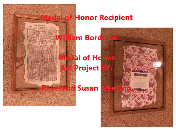 Medal of Honor Art Project By:  Susan MeeLing, Medal of Honor Art Project, Medal of Honor William Bordelon, World War II, WWII, USMC, Marine Corps, prayer, Texas, Artist Reverend Susan MeeLing, Artist Susan MeeLing, Artist Lady Dori Belle