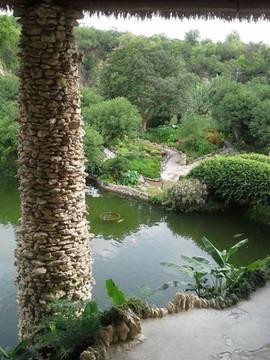 Stone Pillar and Pond of the Japanese ar