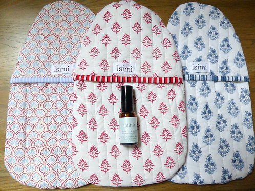Quilted Hot Water Bottle Cover, Bottle and Spritz