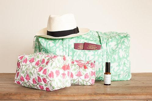 Quilted weekend bag, washbag and make-up bag set, tranquility spritz