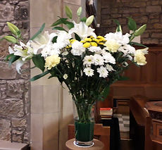 Flowers displayed in the church chancel