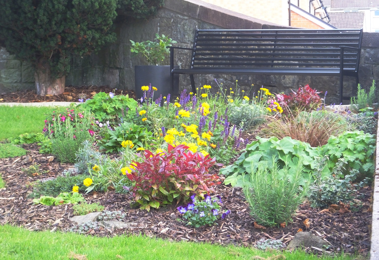 Flower Bed and Bench