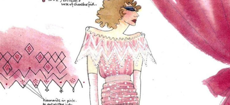 Original sketch of the dress worn by Princess Diana to a state banquet in Kyoto, Japanin 1986. Cour