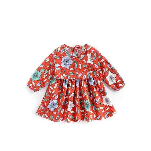 Fall long sleeve flower dress