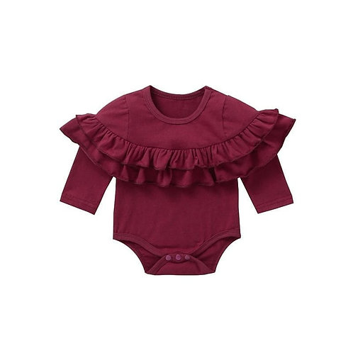 Ruffle long sleeve onesie