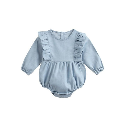 Denim ruffled long sleeve onesie