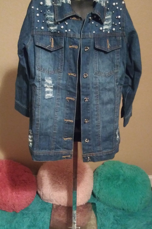 Pearl me out long length jean jacket