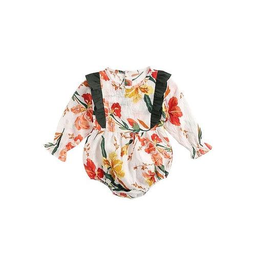 Autumn long sleeve ruffle floral onsie
