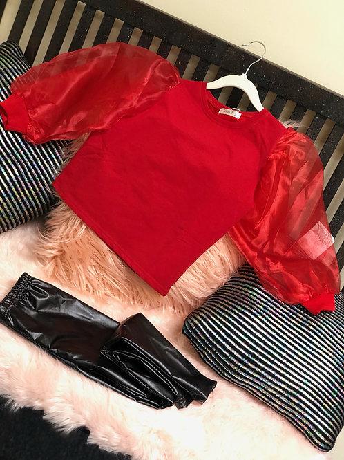 Red puffer shirt