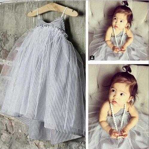 Grey and white mesh dress