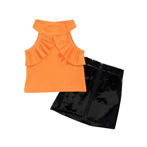 Orange top with pu leather skirt