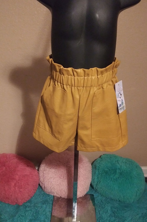 Mustard leather shorts