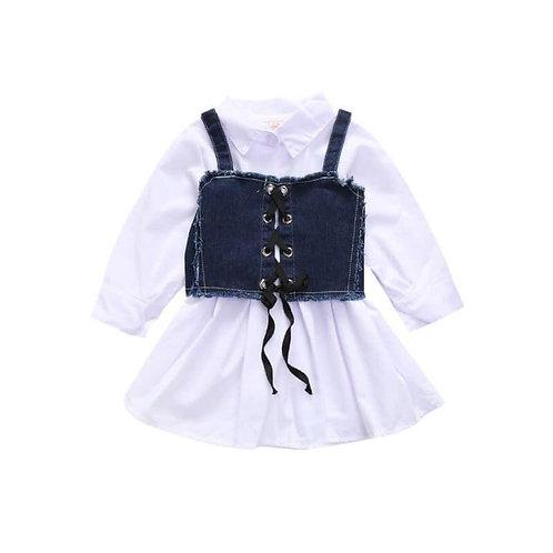 2 piece jean corset dress