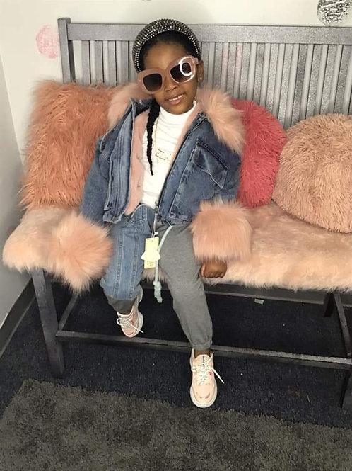 Denim pink fur jacket