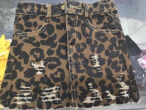 Leopard  denim skirt