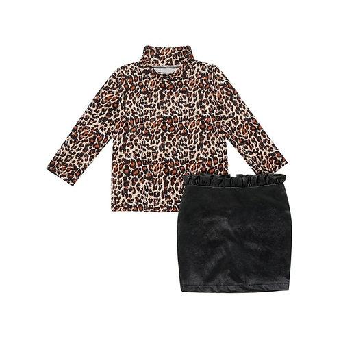 Leopard 2 piece skirt set