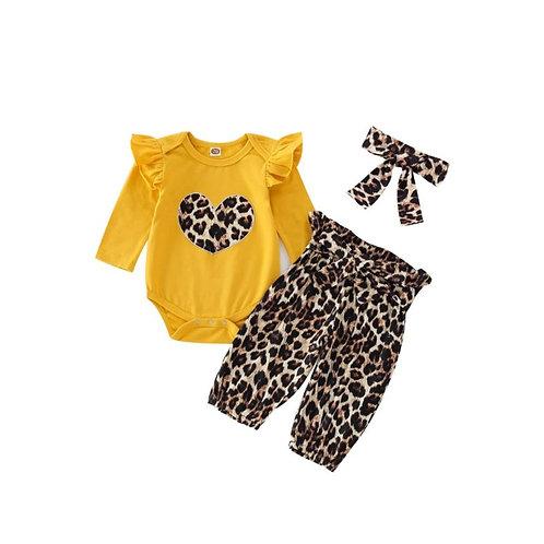 Yellow mellow leopard  set (3 piece set)