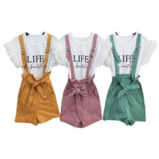 """Life is beautiful"" 2 piece overall set"