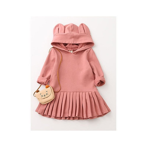 Bear ear hooded ruffle dress