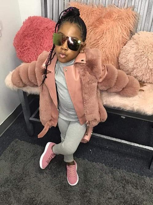 Pink leather/fur jacket
